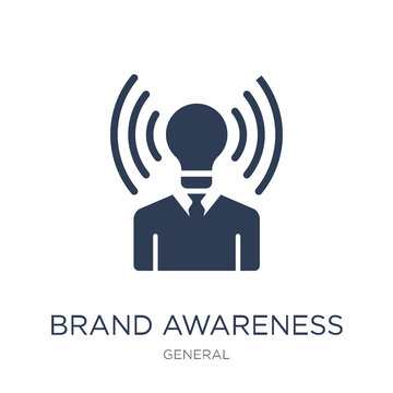 brand awareness icon. Trendy flat vector brand awareness icon on white background from general collection
