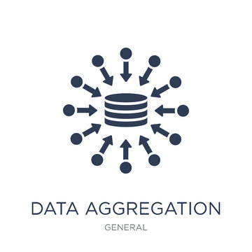 data aggregation icon. Trendy flat vector data aggregation icon on white background from general collection