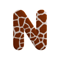 Giraffe letter N - Capital 3d fur font - Safari, Wildlife or Africa concept