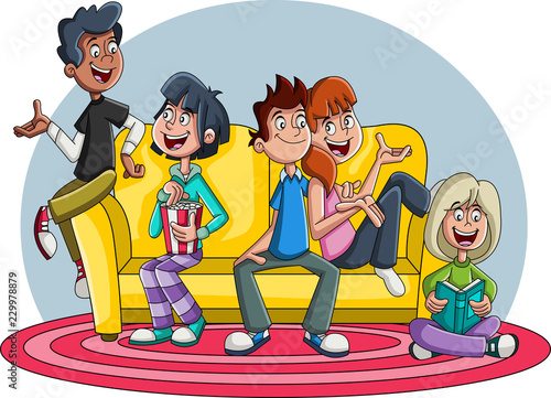 Group Of Cartoon Young People On Sofa Teenager Friends Stock