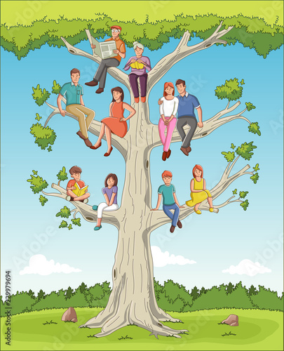 Family Tree With People Cartoon On Genealogical