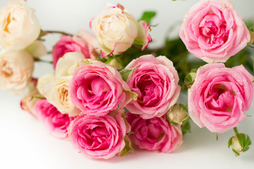 A bouquet of pink roses on a white background.