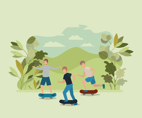 group of young men in skateboard on the park