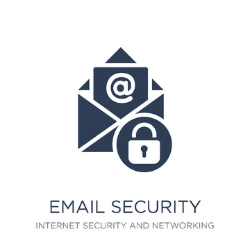 Email security icon. Trendy flat vector Email security icon on white background from Internet Security and Networking collection