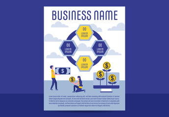 Blue and Yellow Business Infographic Poster Layout