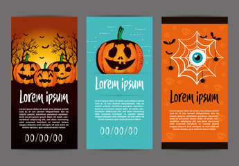 DL Flyer Layouts with Halloween Illustrations