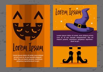 Illustrated Halloween Card Layouts