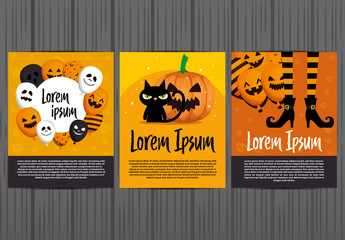 Halloween-Themed Poster Layouts Set