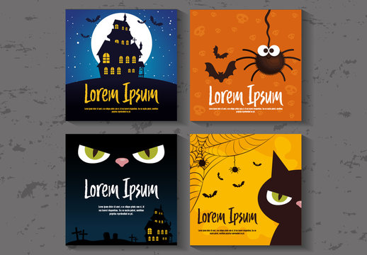 Square Illustrated Halloween Banner Layouts