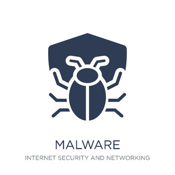 Malware icon. Trendy flat vector Malware icon on white background from Internet Security and Networking collection