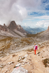 Wanderer an der Forcella Crespeina