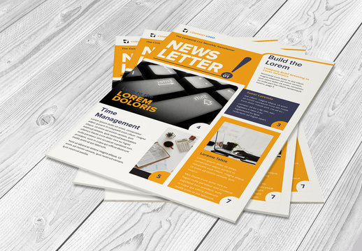 Newsletter Layout with Yellow Accents