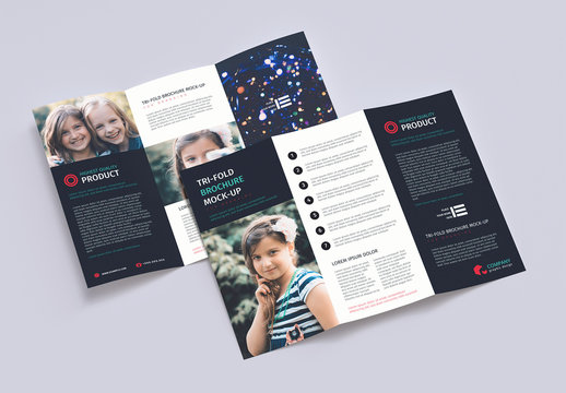 Trifold Brochure Mockup on Solid Background