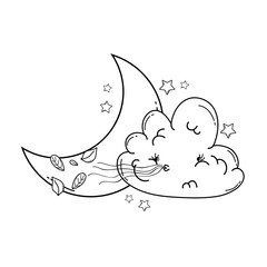 Cloud and moon cartoon in black and white
