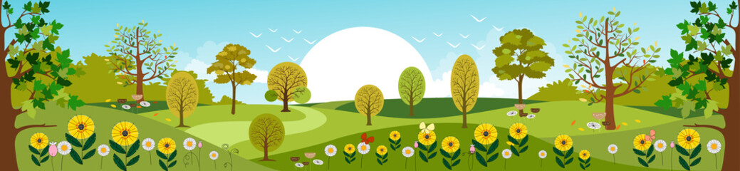 Canvas Prints Pool Panoramic of Countryside landscape in Spring, Vector illustration of horizontal banner of Summer landscape mountains with green field and summer flowers
