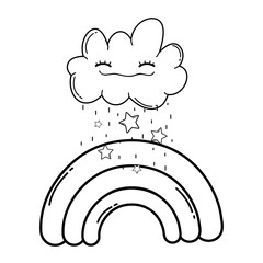 Cloud and rainbow cute cartoon in black and white