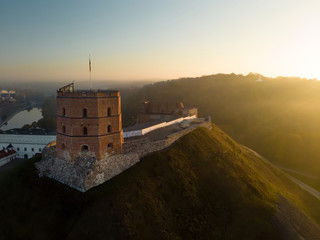 Aerial view of Gediminas' Tower, the remaining part of the Upper Castle in Vilnius. Sunrise landscape of UNESCO-inscribed Old Town of Vilnius, Lithuania.