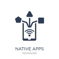 Native apps icon. Trendy flat vector Native apps icon on white background from Technology collection