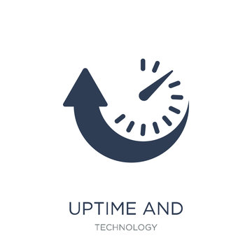 Uptime and downtime icon. Trendy flat vector Uptime and downtime icon on white background from Technology collection