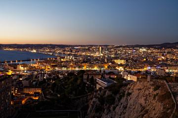 Marseille, France - October 3, 2018: Marseille bay viewed from Notre Dame de la Garde hill