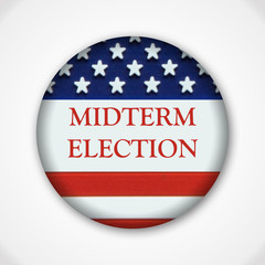 Midterm election pin button badge with american flag