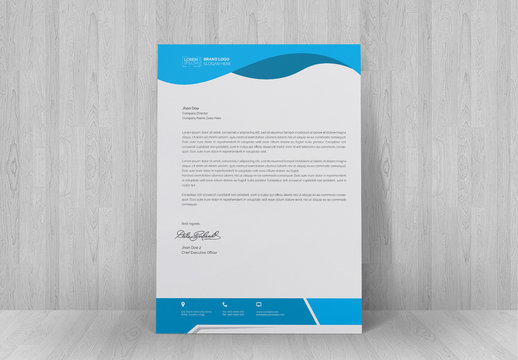 Letterhead Layout with Blue Header and Footer