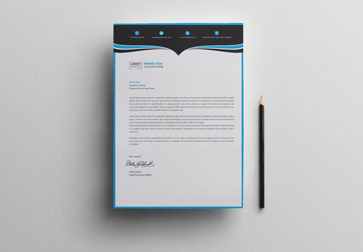 Letterhead Layout with Blue and Black Header