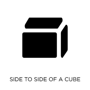 Side to side of a cube icon. Side to side of a cube symbol design from Geometry collection.