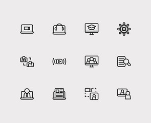 Online education icons set. Education e-learning and online education icons with headphone laptop, business e-learning and video interview. Set of man for web app logo UI design.