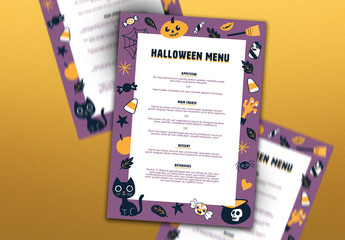 Menu Layout with Halloween Theme