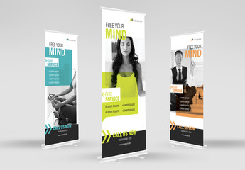 Vertical Banner Advertisement Layouts with Speech Bubble Elements