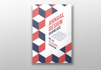 Poster Layout with Red and Blue Geometric Elements