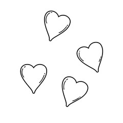Hearts cute cartoons in black and white