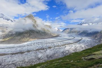 Aletsch glacier in the Swiss Alps, Valais, Switzerland.