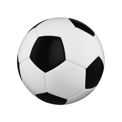 Soccer ball isolated on white background. Black and white football ball.