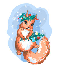 Illustration of cute Christmas squirrel vector art