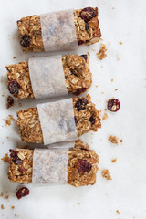 Homemade granola bars with oats, raisens, and dried cranberries
