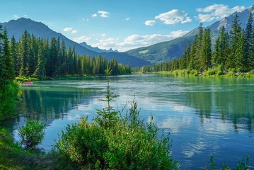 Panoramic View of a Lake at Banff Indian Trading Post in Banff