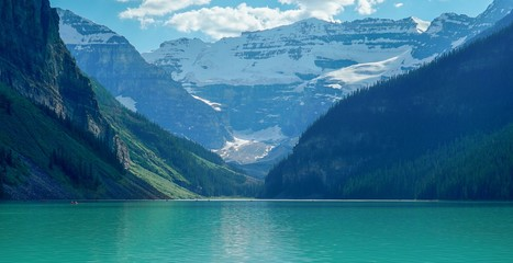 Spectacular view of Lake Louise in Banff National Park in the Canadian Rockies