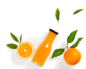 Wall Mural - Flat lay of orange and juice.