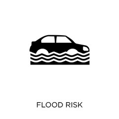 Flood risk icon. Flood risk symbol design from Insurance collection. Simple element vector illustration. Can be used in web and mobile.