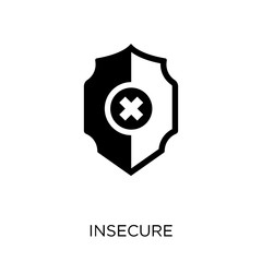 Insecure icon. Insecure symbol design from Internet security collection.