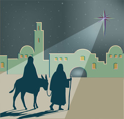 A vector illustration of Mary on a donkey led by Joseph on their travels to Bethlehem, with a large bright star shining in the night sky, vector illustration.