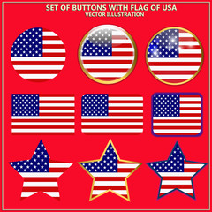 Set of banners with flag of USA.