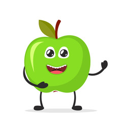 Happy smiling apple. Funny fruit concept. Flat cartoon character icon. Vector illustration.