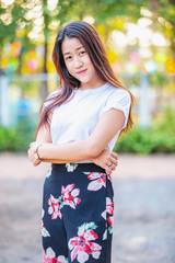 Portrait beautiful asian cute young girl