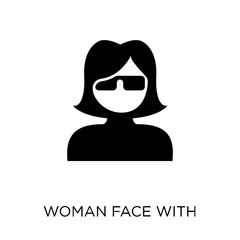 Woman face with sunglasses icon. Woman face with sunglasses symbol design from People collection.