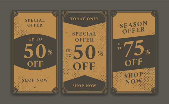 Vintage promotional discount sale offer social media story background template and flyer brochure design with vintage texture style