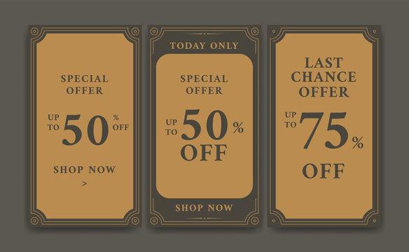 Vintage discount promo sale social media story background template and flyer brochure design