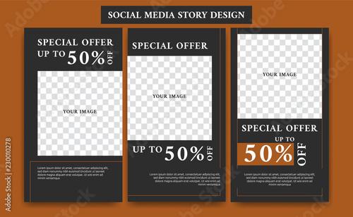 black brown fashion social media story design frame set streaming
